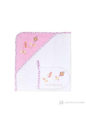 Slumber Başlıklı ve Keseli Banyo Havlusu Pink Kite 75*75cm