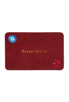 Giz Home Nakışlı/Brode Kapı Paspası 40X60 Kırmızı Nazar Boncuğu