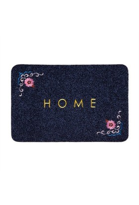 Giz Home Nakışlı/Brode Kapı Paspası 40X60 Gri Çiçekli