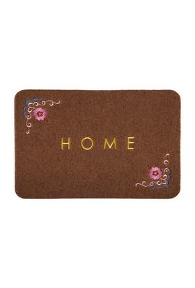 Giz Home Nakışlı/Brode Kapı Paspası 40X60 Kahve Çiçekli