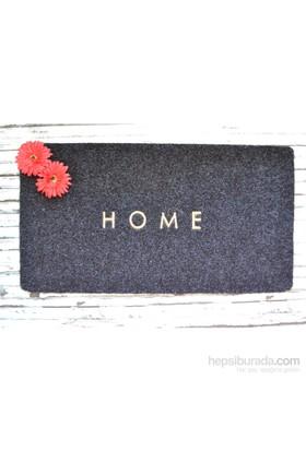 Giz Home Yapma Çiçek/Teri Kapı Paspası 40X60 Gri Kırmızı İkiz Çiçek