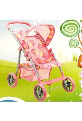 Sunman Oyuncak Bebek Arabası 4 Tekerli Puset Çilek