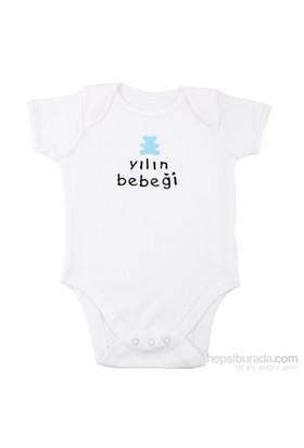 """Pompon Mavi Ayıcıklı """"Yılın Bebeği"""" Aplikeli Kısa Kollu Body / 24-36 Ay"""