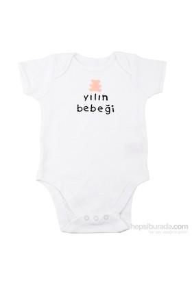 Pompon Pembe Ayıcıklı Yılın Bebeği Nakışlı Kısa Kollu Body / 24-36 Ay