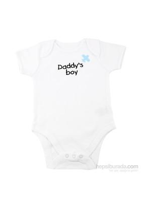 "Pompon ""Daddy'S Boy"" Kısa Kollu Nakışlı Body / 24-36 Ay"