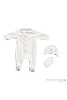İdil Baby 5793 3'Lü Kız Bebek Tulumu Krem 0 Ay (50-56 Cm)