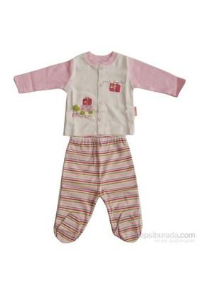 Bebiccino 2843 Patikli Pijama Takımı 50 Krem-Pembe 0 Ay (50-56 Cm)