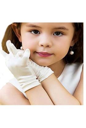 Pandoli Beyaz Renk Likralı Çocuk Eldiveni