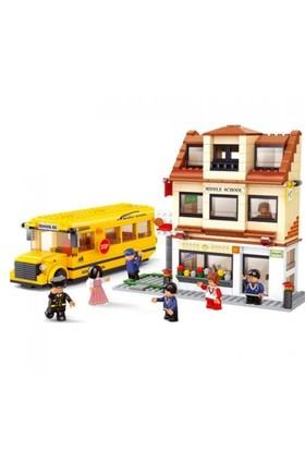 Sluban Yapboz Blok 496 Parça Okul Ve Otobüs Seti