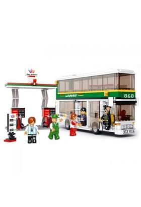 Sluban Yapboz Blok 403 Parça Otobüs Ve Benzin İstasyonu