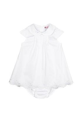O Piti Piti Beyaz Ada Elbise Külot Takım 9 Ay