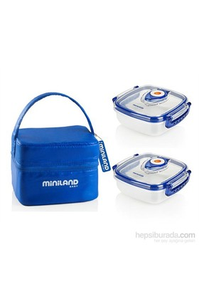 Miniland Baby Vakumlu 2'li Saklama Kabı Mavi