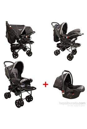 Mcrae Mc 750T Comfort Travel Sistem Çift Yönlü Lux Bebek Arabası - Siyah