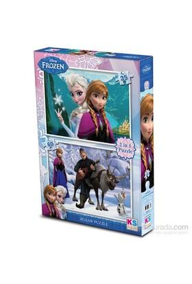 Disney Frozen Puzzle 2'si 1 Arada (35 + 60 Parça)