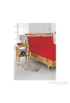 Kırmızı Home Lastikli Çarşaf Seti Çift Kişilik Kırmızı