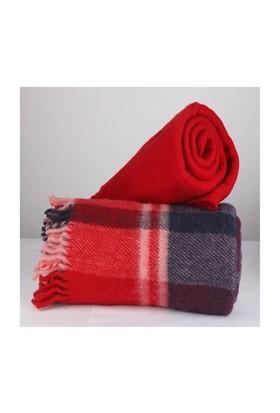 Mella Home Wool Battaniye-Kırmızı-Lacivert
