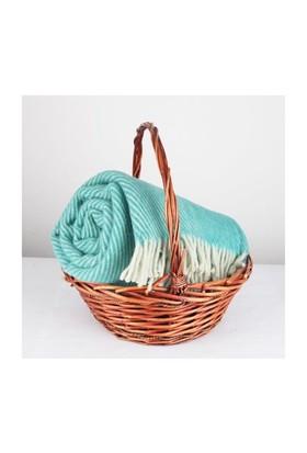 Mella Home Wool Battaniye-Yeşil-Krem