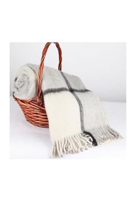 Mella Home Wool Battaniye-Gri-Krem