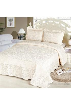 Cotton House Home Collection Nubuk Varaklı Tiara Çift Kişilik Yatak Örtüsü - Silver