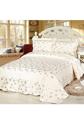 Cotton House Home Collection Nubuk Varaklı Diva Çift Kişilik Yatak Örtüsü - Silver