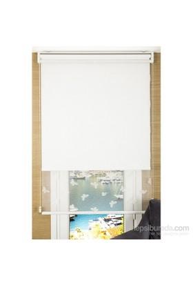 Comforsun Beyaz Kelebek Desenli İkili Stor Perde 60x200