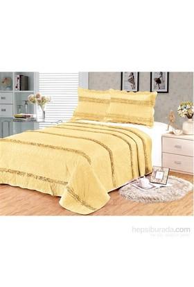 Evlen Home Collection Sarmaşık 3 Yatak Örtüsü - 3 Parça Altın