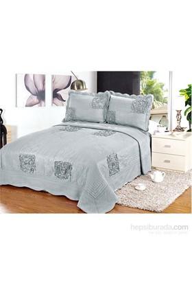 Evlen Home Collection Sarmaşık 2 Yatak Örtüsü - 3 Parça Gri