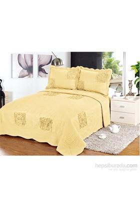 Evlen Home Collection Sarmaşık 2 Yatak Örtüsü - 3 Parça Altın