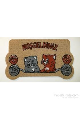 Giz Home İtalyan Kokardo Kapı Paspası 40X70 Yumaklı Kediler
