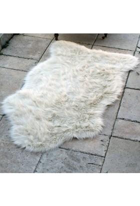 İkikız Peluş Post Dalgalı Dekoratif Halı 80X150 Cm Beyaz