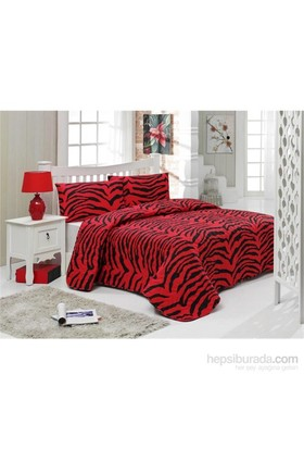 Eponj Home Kapitone Yatak Örtüsü Seti Çift Kişilik Zebrax Kırmızı