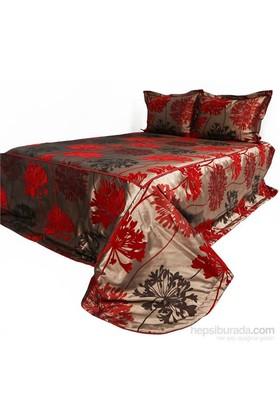 Yastıkminder Bordo Flok Çiçek Baskılı Tafta Yatak Örtüsü