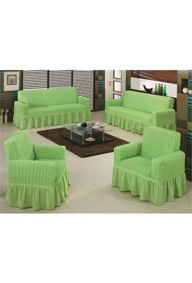 Evory Home Bürümcük Çekyat Örtüsü (3+3) - Yeşil