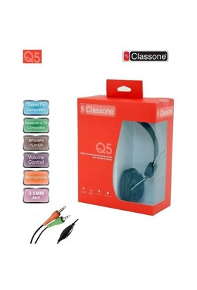 Classone Ml-Q5-Black Classone Q5 Serisi Kulaklık, Mikrofonlu Ve Kablodan Ses Kontrol Siyah Renk