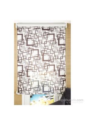 Comforsun Kahve Kare Desenli Arkası Beyaz İkili Stor Perde 60x200