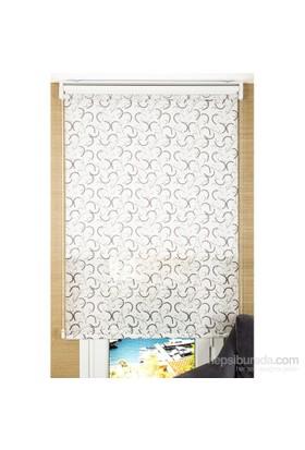 Comforsun Kahve Boncuklu Dal Desenli Arkası Beyaz İkili Stor Perde 60x200