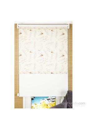 Comforsun Yaprak Desenli Arkası Beyaz İkili Stor Perde 60x200
