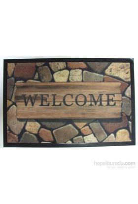 Giz Home Print Mat Kapı Paspası 40X60 Welcome Taş