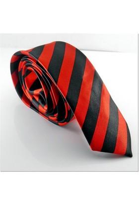 Solfera Siyah Kırmızı Çapraz Çizgili Slim Kravat Ks012