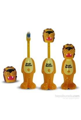 Brush Buddies Kafası Çıkan Oyuncak Şeklinde Diş Fırçası POPİN Aslan Karakterli