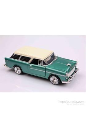 Motomax Yeşil 1955 Chevy Bel Air Chevrolet Nomad 1/24 Die Cast Model Araç