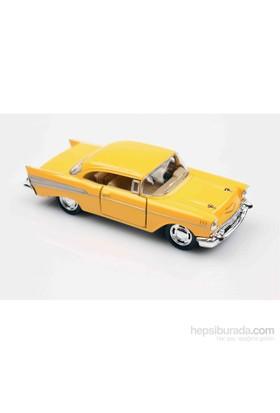 Sarı 1957 Chevrolet Bel Air 1/40 Çek Bırak Die-Cast Model Araç