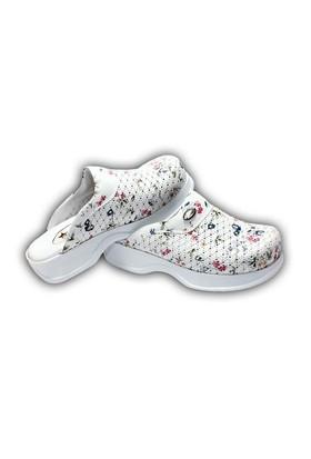 Sabo Çiçekli Ortopedik Bayan Terlik - K109 Beyaz
