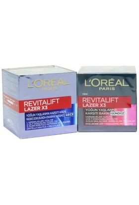 Loreal Paris Revitalift Lazer X3 Set Gündüz Kremi 50Ml. + Gece Kremi 50Ml.