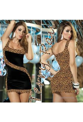Terry Pau Tp101147 Leopar Kontras Mini Elbise