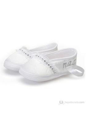 Pompon İsme Özel Saten Bebek Ayakkabısı