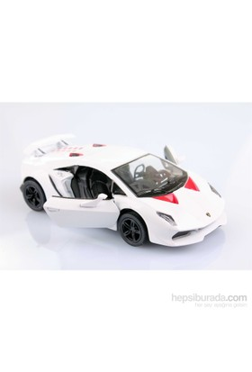 Beyaz Lamborghini Sesto Elemento 1/38 Çek Bırak Die-Cast Model Araç