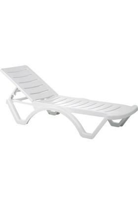 Plastıco Comfort Kolsuz Beyaz Şezlong