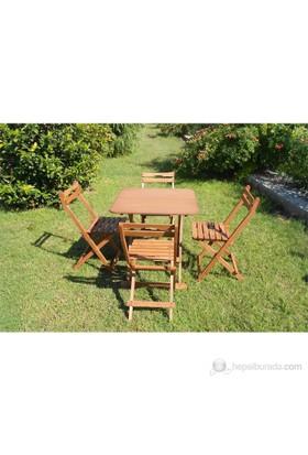 Modermo Ahşap Katlanır Masa (108) + 4 Adet Ahşap Katlanır Sandalye (110)
