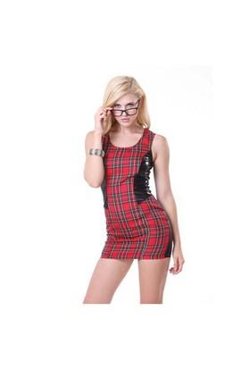 Terry Pau Tp101133 Ekose Desenli Lame Mini Elbise
